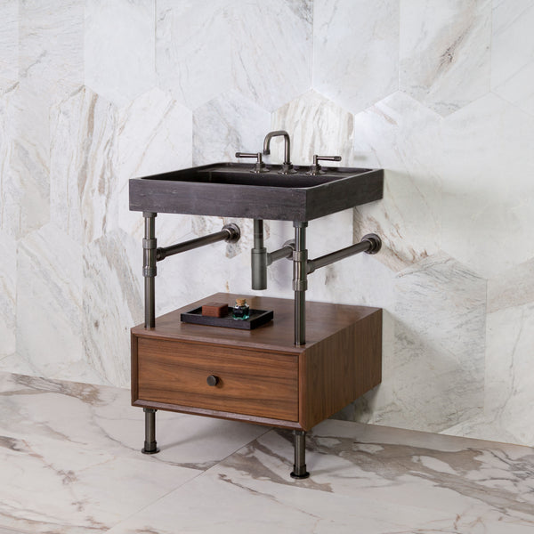 "Ventus Bath Sink with Faucet Deck on Elemental 10"" Drawer Vanity"