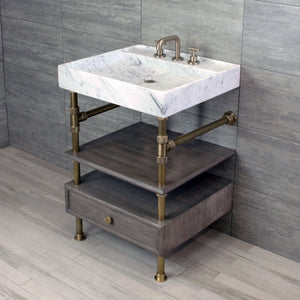 Ventus Bath Sink with Faucet Deck and Elemental Console Vanity