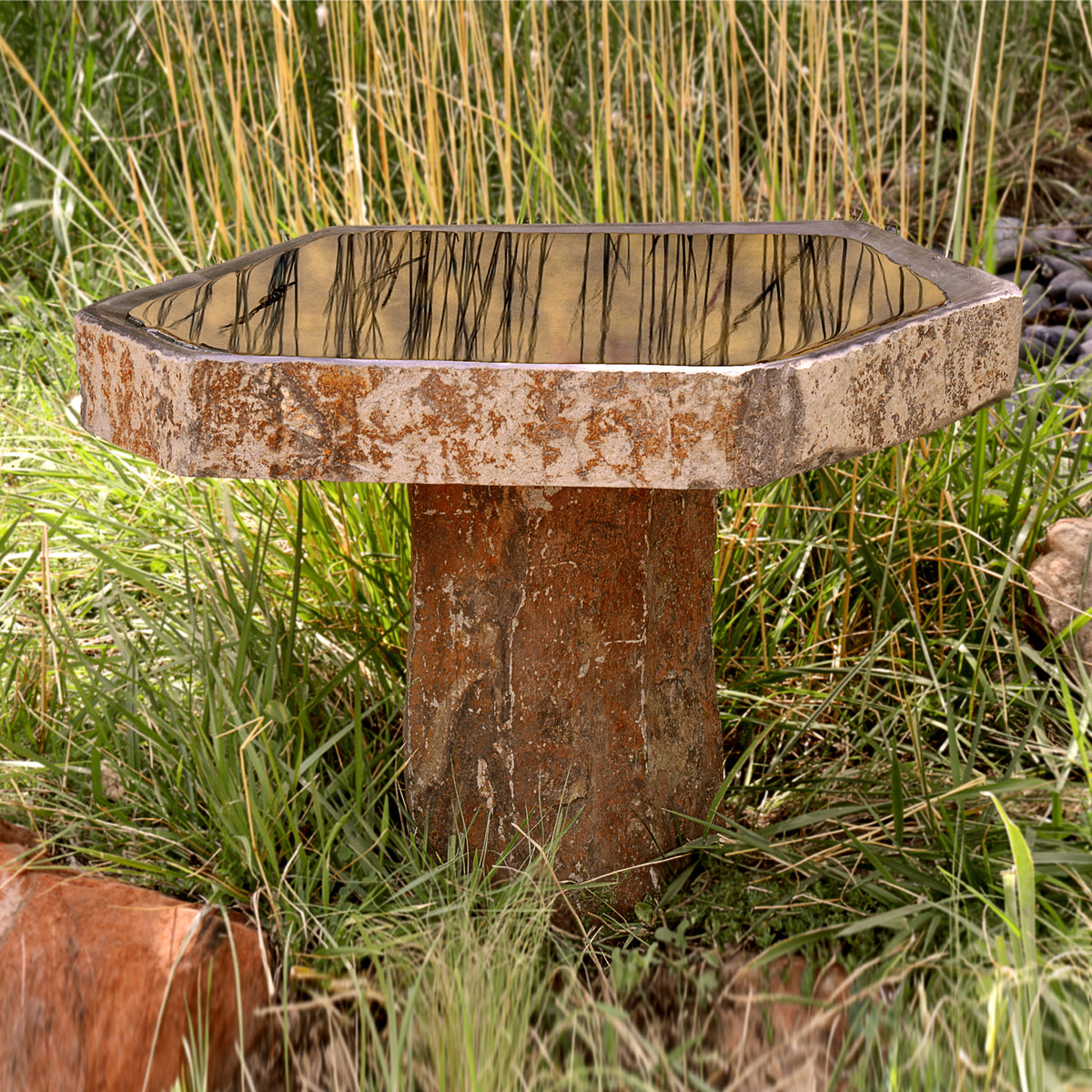 Basalt Bird Bath  **BACK-ORDERED UNTIL MARCH