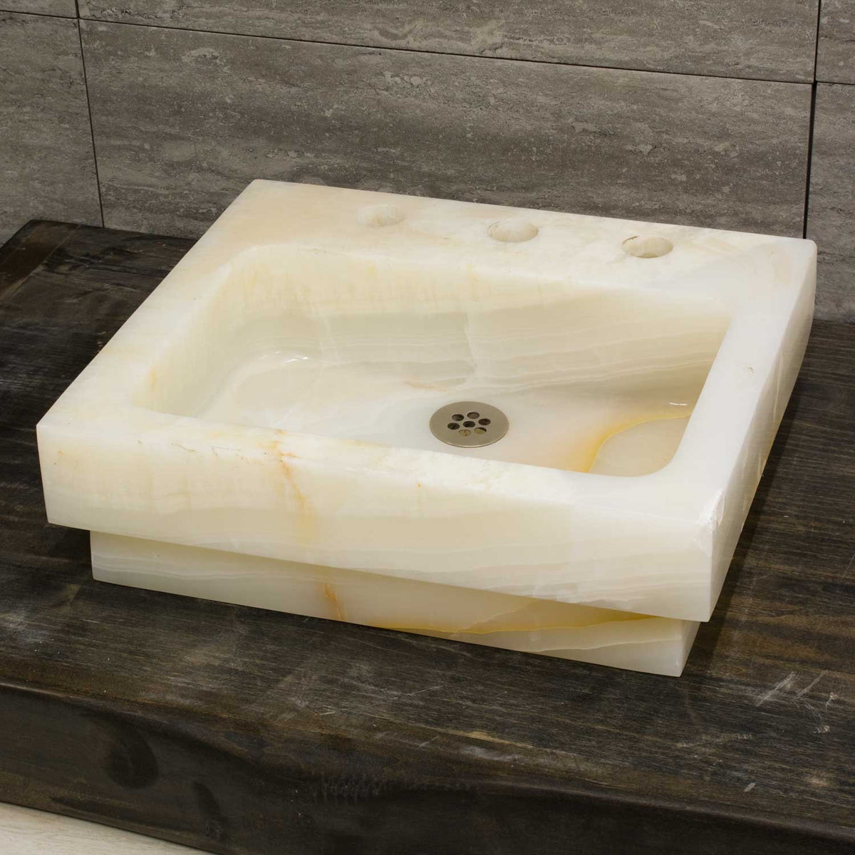 Rectangular Drop-In Sink, White Onyx