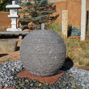 Ribbed Sphere Fountain, 36inch