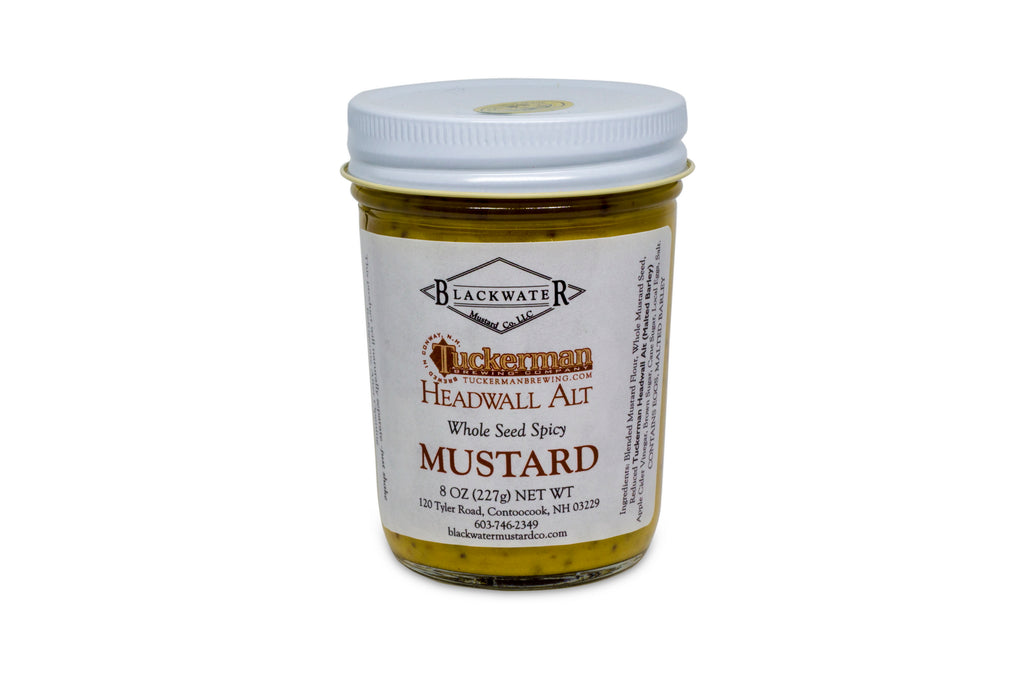 A jar of brown ale mustard.