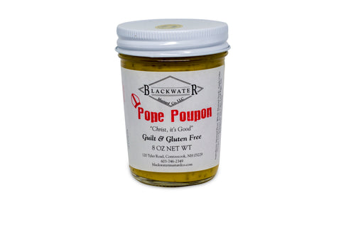 A jar of Pope Poupon mustard.