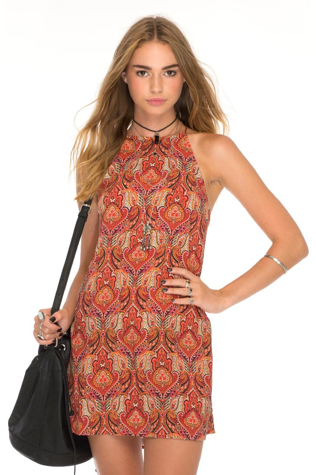 Zella Stone: Dress - Printed Slip Dress - Motel