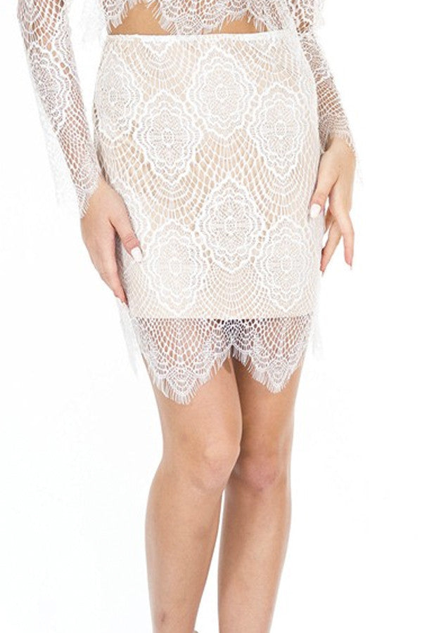 Zella Stone: Bottoms - Scallop Lace Skirt - Luxxel