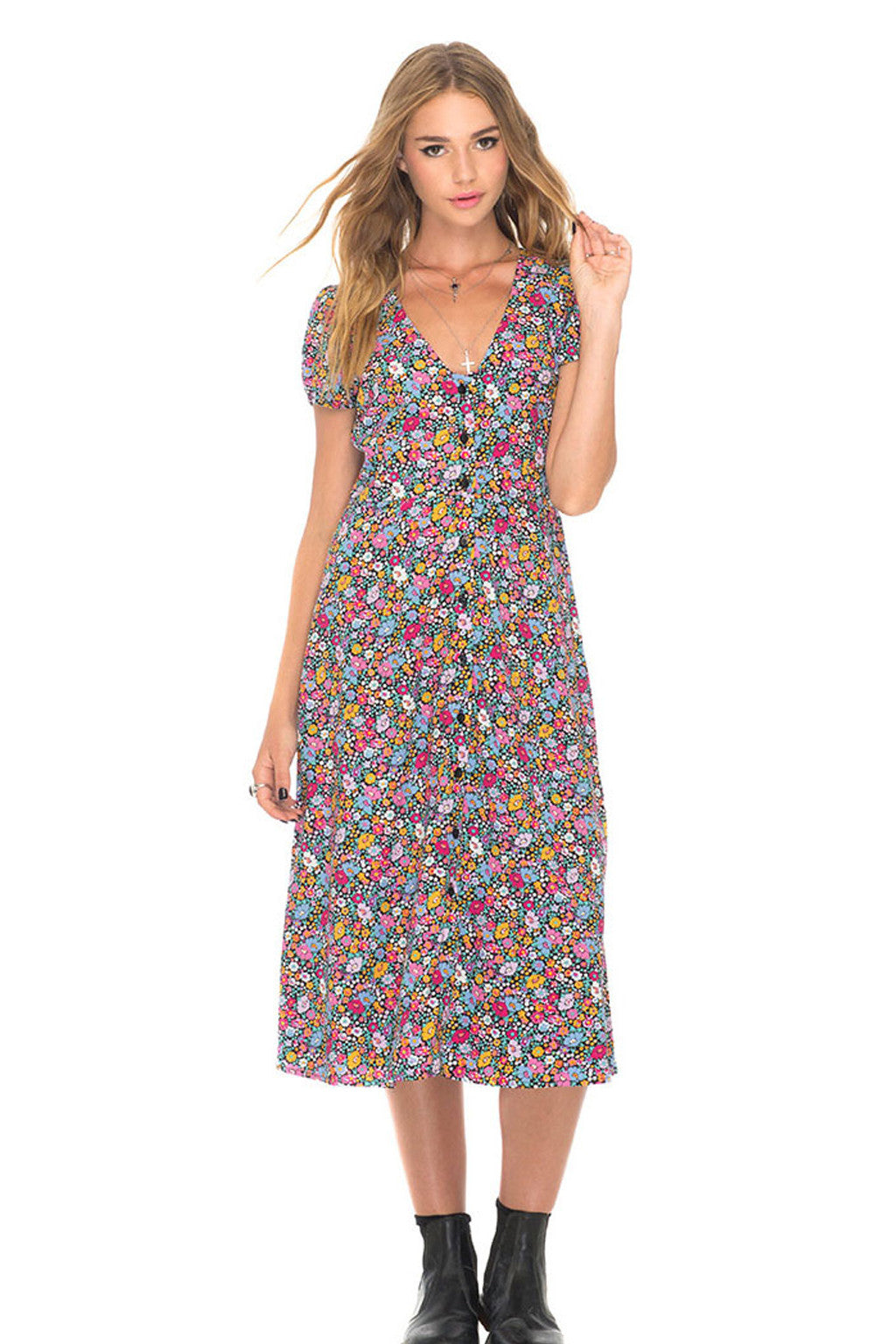 Zella Stone: Dress - Floral Dress - Motel