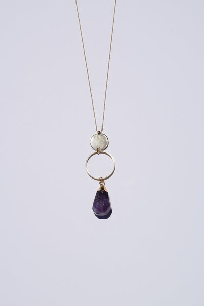 Zella Stone: Necklace - Plate Ring Purple Stone Necklace - Art Box