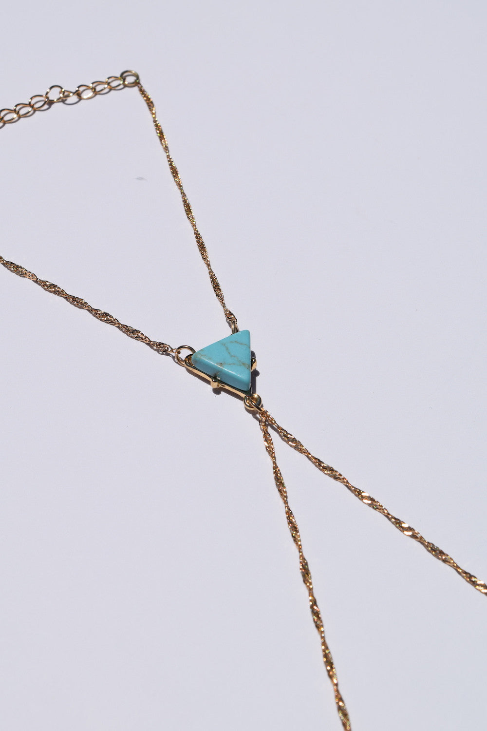 Zella Stone: Bracelet - Triangle Turquoise Hand Chain - H&D