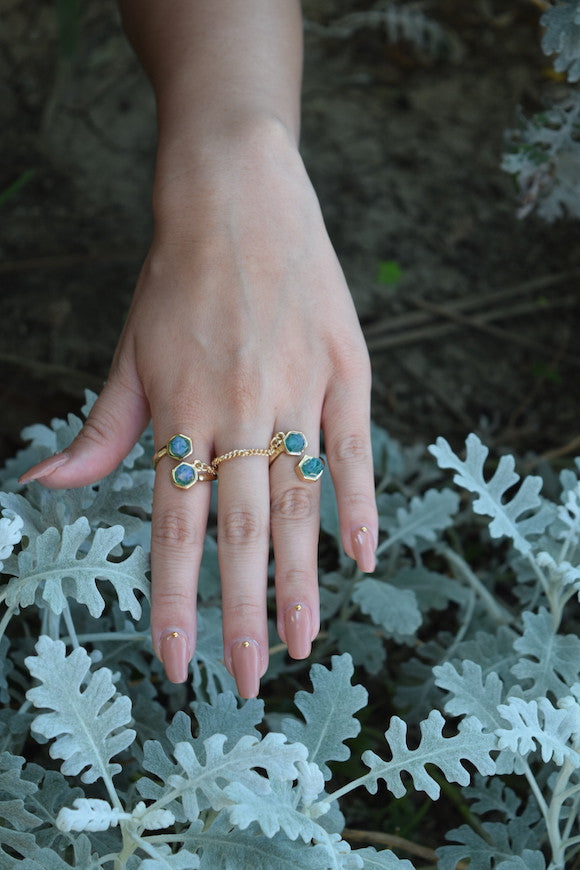 Zella Stone: Rings - Turquoise Chain Ring Set - Art Box
