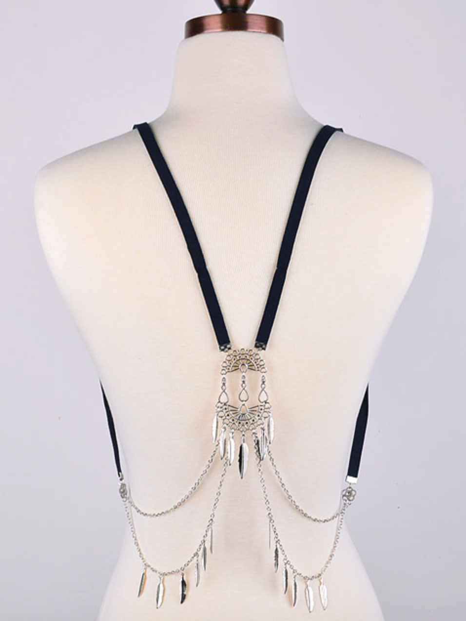 Zella Stone: Body Jewelry - Silver Body Harness - Fame