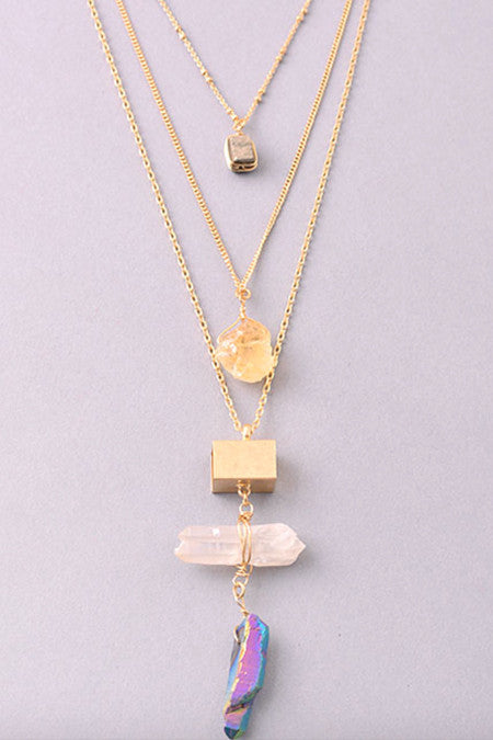 Zella Stone: Necklace - Five Stone Necklace - Fame