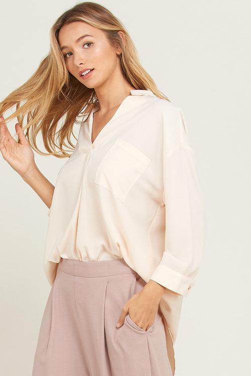 Cream Colored Open Back Top - THE WEARHOUSE
