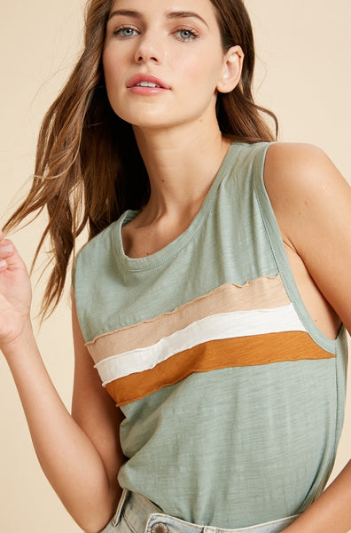 Color Stripe Muscle Tank - THE WEARHOUSE
