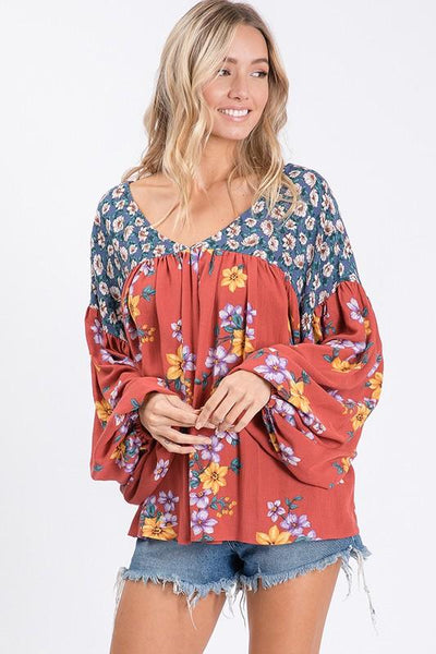 Bishop Long Sleeve Floral Print Top