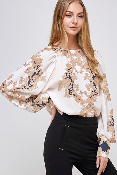 Cream and Gold Paisley Balloon Sleeve Blouse
