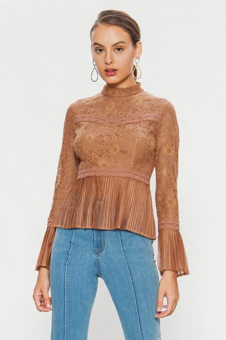 Metallic Champagne Thread Ruffle Top