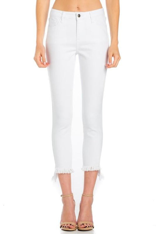 Willa White Mid-Rise Skinny Crop Jeans - THE WEARHOUSE