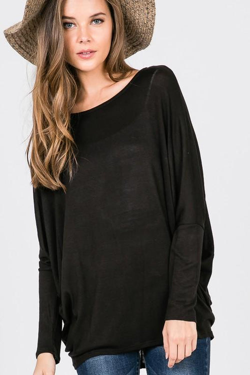 Black Light Weight Dolman Sweater - THE WEARHOUSE