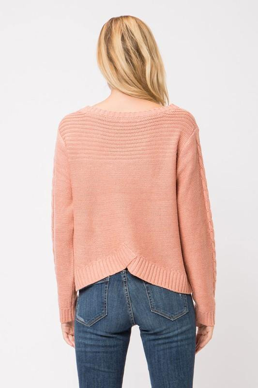 Coral Chunky Cable Knit Sweater
