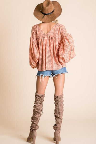 Coral Billow Long Sleeve Boxy Top