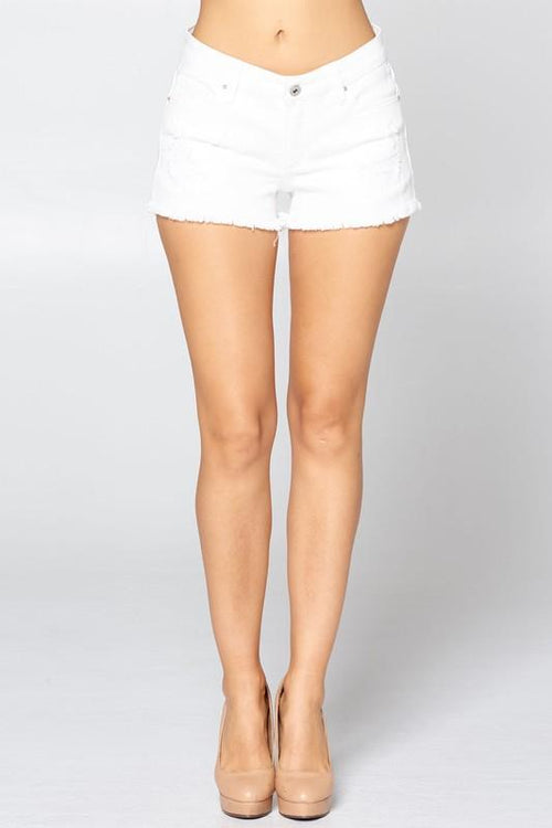 Diana White Denim Frayed Shorts