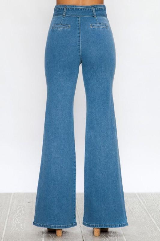 """The Sheri's"" Light Indigo Flared Pants - THE WEARHOUSE"