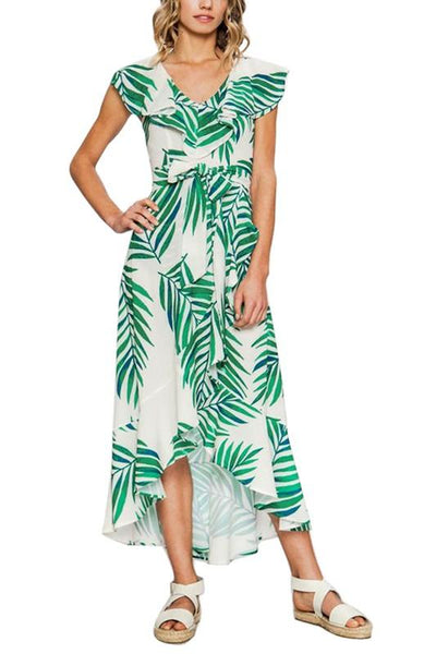 0c21299bc3a Green and Ivory Palm Leaf Print Maxi Dress – THE WEARHOUSE