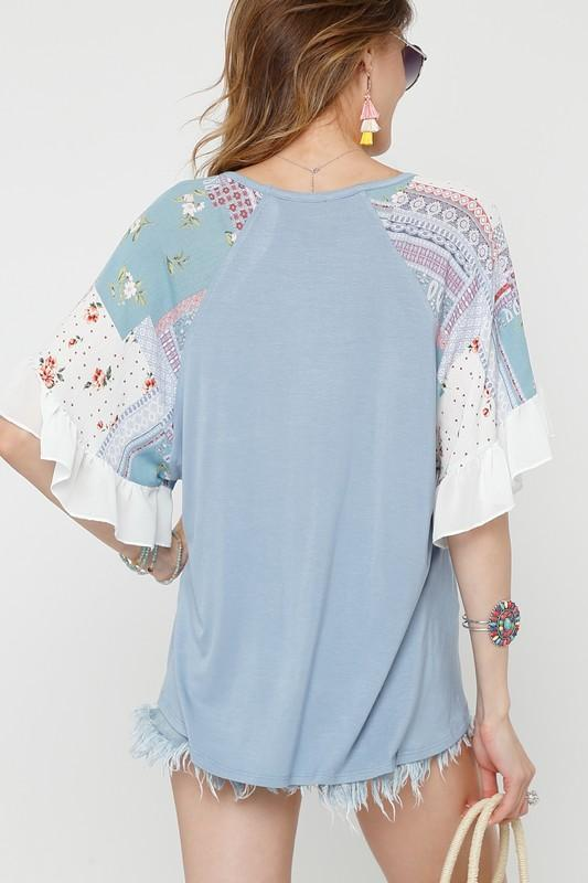 Blue and Contrasted Print Top with Ruffle Sleeves