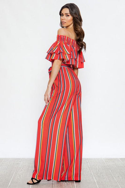 Red and Multi Stripe Jumpsuit