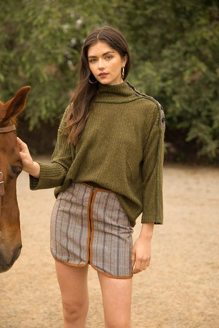 Rust Mulit Colored Contrast Sleeve Knit Top