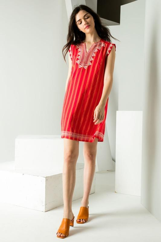 Red Striped Embroidered Dress