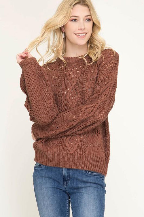 Cinnamon Bubble Sleeve Cable Knit Sweater