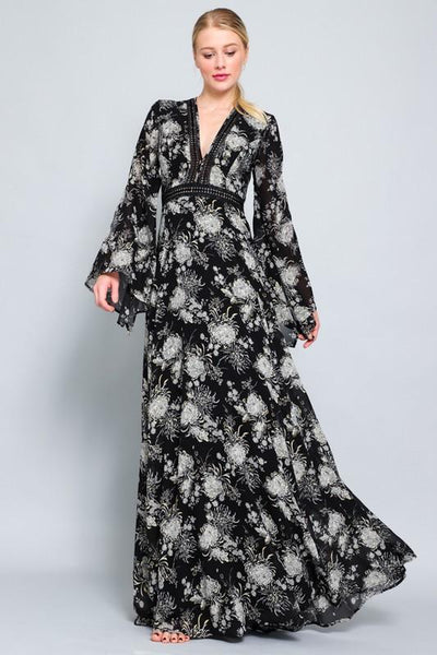 Black and Grey Long Sleeve Lace Maxi Dress - THE WEARHOUSE