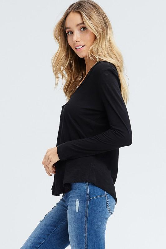 Black Long Sleeve V-Neck Top - THE WEARHOUSE