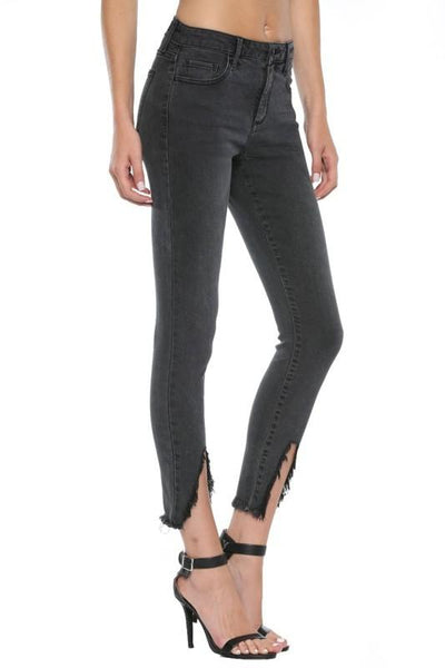 Aubrey Mid Rise Triangular Hem Crop Skinny Jeans - THE WEARHOUSE