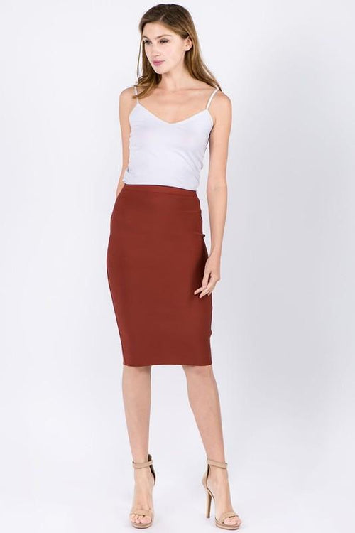 Dark Rust Colored Pencil Skirt
