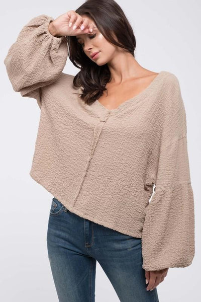 Taupe Balloon Sleeve Crop Top