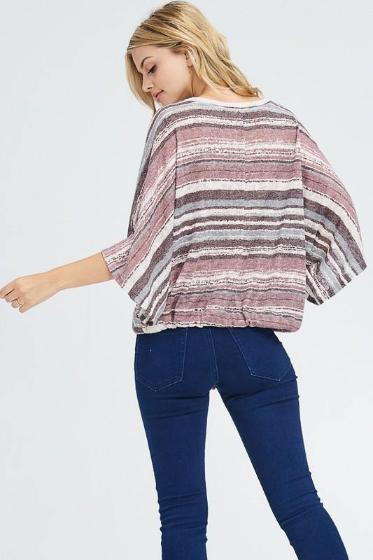 Orchid Striped Front Tie Top