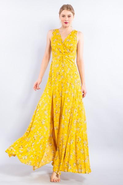 Yellow Sleeveless V-neck Maxi Dress
