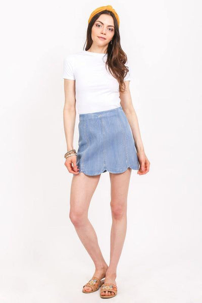 Denim Scallop Skirt - THE WEARHOUSE