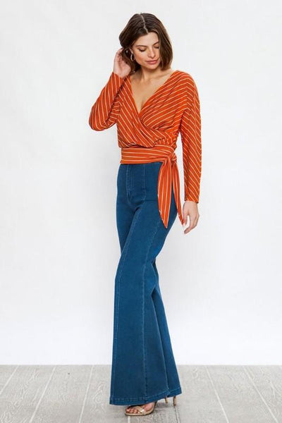 Rust Striped Surplice Top