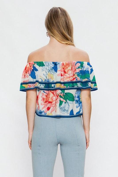 Ivory and Floral Off Shoulder Top