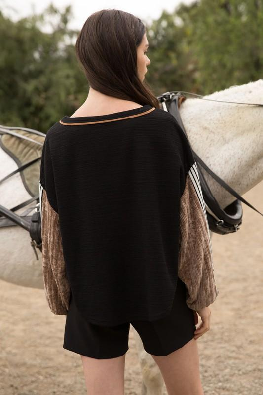Black and White Drop Shoulder Top