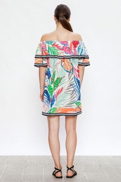 Ivory Abstract Print Mini Dress