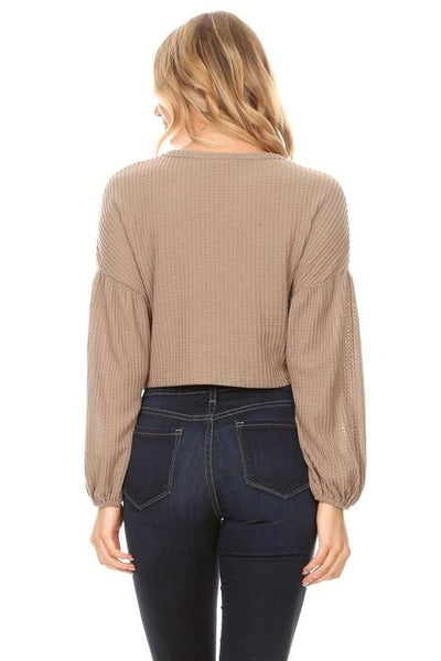 Beige Long Sleeve Crop Top