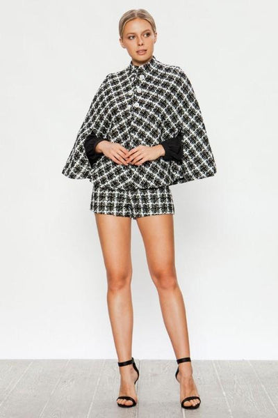 Black And White Modern Cape Jacket
