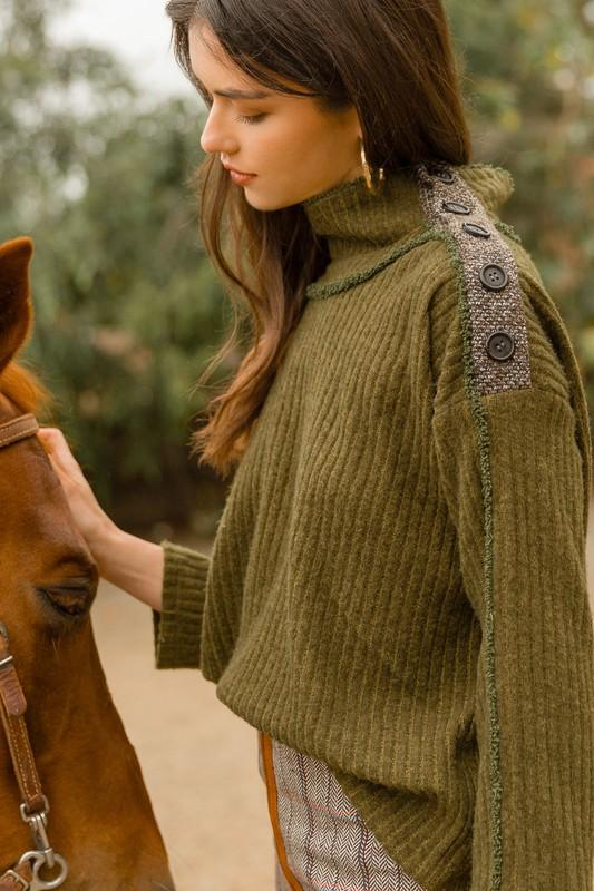 Olive Rib Knit Sweater