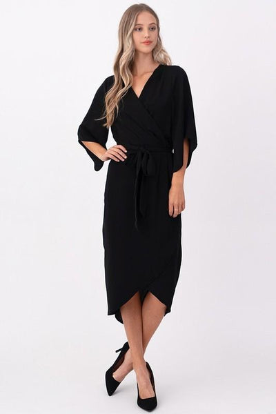 Black Woven Dress with Midi Wrap - THE WEARHOUSE