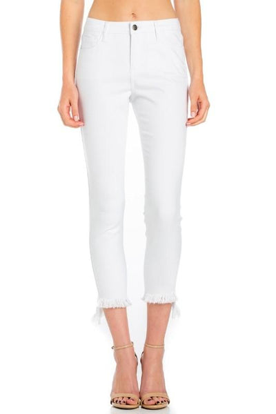 Willa White Mid-Rise Skinny Crop Jeans