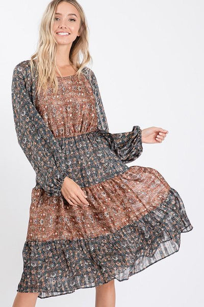 Navy and Rust Colored Print Woven Block Dress